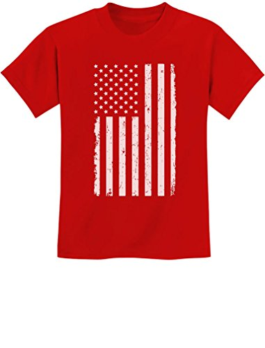 TeeStars - Big White American Flag - 4th of July Gift U.S.A Youth Kids T-Shirt Small Red