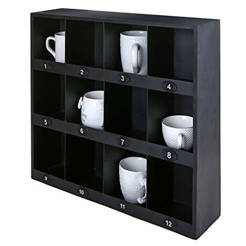 MyGift Wall-Mount Organizer Rack, 12 Compartment Chalkboard Label Shelves, Black