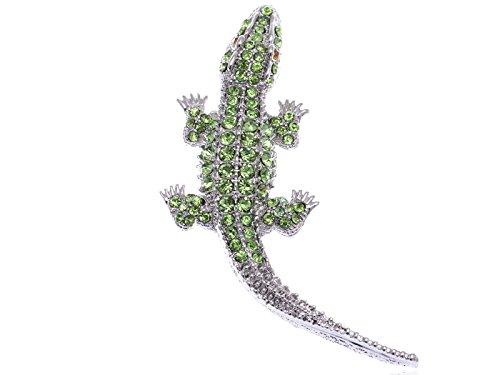 Alilang Silvery Tone Light Green Rhinestones Long Tail Alligator Crocodile Brooch Pin