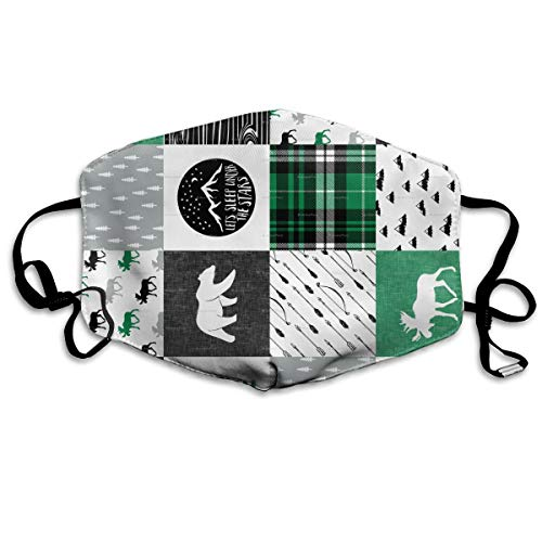 Comfort Earloop Mouth Mask, Anti-Dust Anti Flu Smog Mouth-Muffle with Adjustable Elastic Band - Windproof Black White Kelly Green Happy Camper Half Face Mouth Mask
