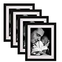 WOOD MEETS COLOR 8x10 Black Picture Frame with Real Wood and Real Glass, Include White Picture Mat, Made to Display Pictures 8x10 Inch Photo Without Mat or 6x8 Inch Photo with Mat,Set of 4