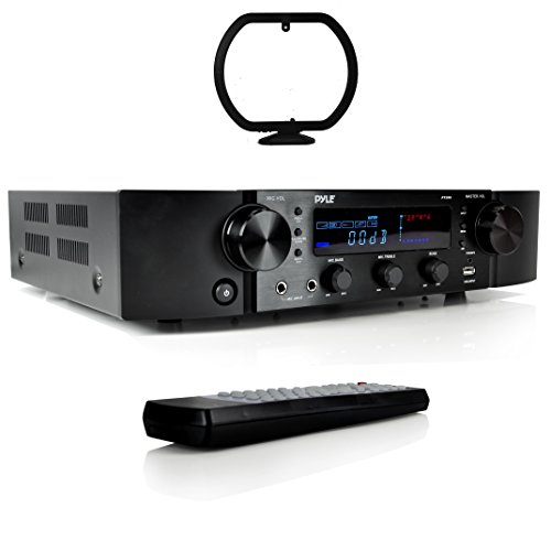 Pyle Updated Pyle Stereo Preamplifier, Home Entertainment Receiver, Bluetooth Amp, RCA Audio Input, 2 Channel Amp, AM/FM Radio with LCD Display, MP3/USB/AUX, Remote Control, AC Power Cable (PT395) (Pre Amplifiers Home Theater)