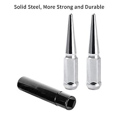 CA Supplies m12x1.25 Spike Lug Nuts 20 pcs Chrome Steel Wheel Lug Nuts with 1 Key: Automotive