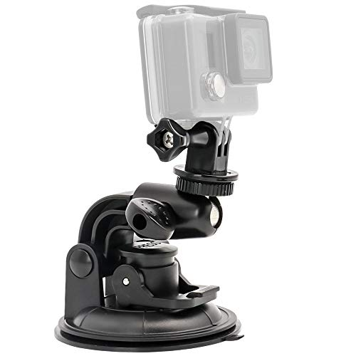 EXSHOW Suction Cup Camera Mount,1/4-20 Thread Heavy Duty Full Rotation Car Windshield and Any Smooth Surface Holder for GoPro Hero 5,4,3+,3,2,1 and Other Cameras