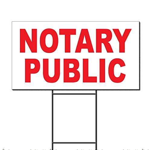Notary Metal (Notary Public Red Corrugated Plastic Yard Sign /Free Stakes 12 x 18 Inches One Side Color)
