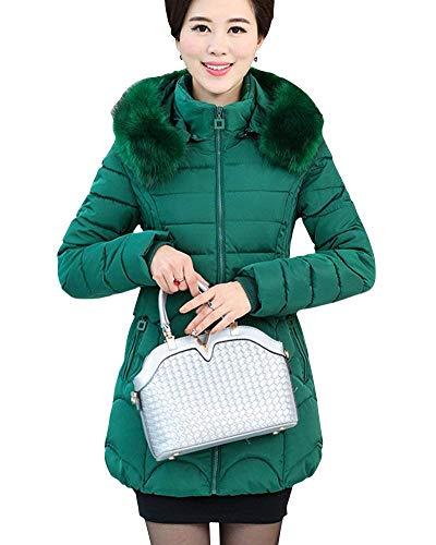 Abrigo Bolsillos Invierno Capucha Mujer Grün Bonita Sintética Huixin qU1xw880