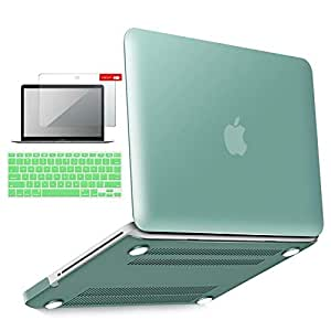 ibenzer Basic Soft-Touch Series Plastic Hard Case, Keyboard Cover, Screen Protector for Apple MacBook Pro 13-inch 13 with CD-ROM A1278 (Previous Generation), Green
