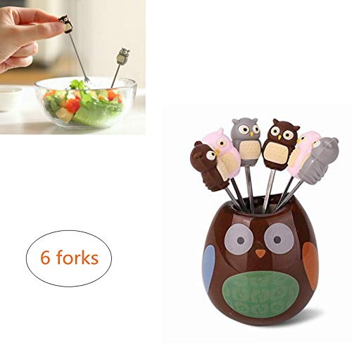 EDOBLUE 6 Pcs Owl Stainless Steel Fruit Forks Cute Cartoon Animal Food Picks Salad Cake Dessert Forks, Comes with a Ceramic Holder