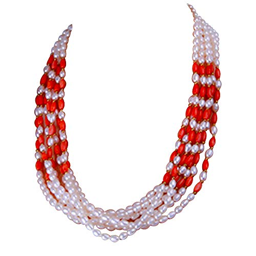 JYX Pearl Multi-Strand Necklace White Oval Freshwater Pearl Red Oval Coral Beads Necklace ()