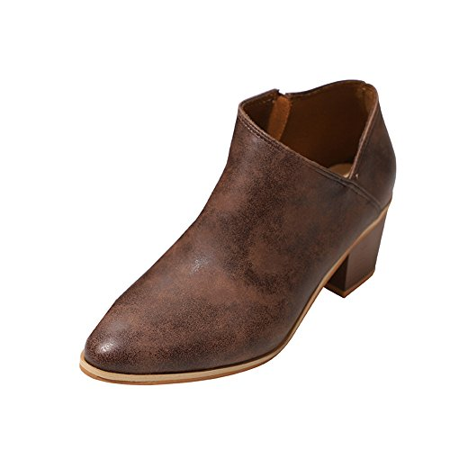 Casual Sunday77 Boots Ankle Warm Shallow Boots Leather Wedges Zip Comfort Martin Brown Clearance Women for Winter Adults Retro Ladies Solid Shoes 6qTBAnf