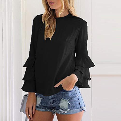 T Flare Blouse Tees Shirts Femmes Unie Couleur Automne Monika Hauts Casual Rond Col Noir Fashion Printemps Top Sleeve et Chemisiers TqOP8