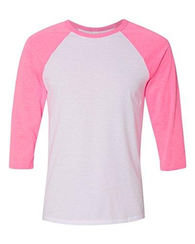 Pink Raglan - Bella 3200 Unisex 3 By 4 Sleeve Baseball Tee - White & Neon Pink, Large