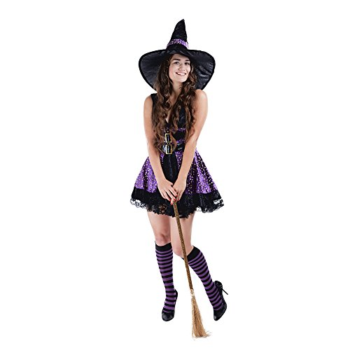Charm Rainbow Women's Wicked Witch Costume Fairytale Halloween Fancy Dress, Purple(L) for $<!--$26.99-->