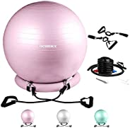 NEUMEE Exercise Ball Chair with Resistance Bands, Yoga Ball Office Chair with Stability Base for Home Gym, Wor