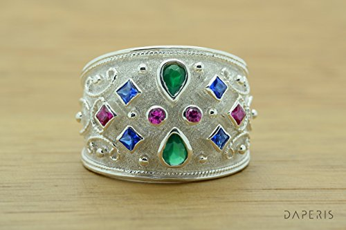 Rubies Emeralds Sapphires CZ Ring, Pear Cut Emerald Ring, CZ Band Ring, Sterling Silver Ring, Etruscan Style Ring, Byzantine Ring, Greek Jewelry, Luxury Ring, Medieval Ring, Elegant Sterling Silver Ring - Ruby Etruscan Style Ring