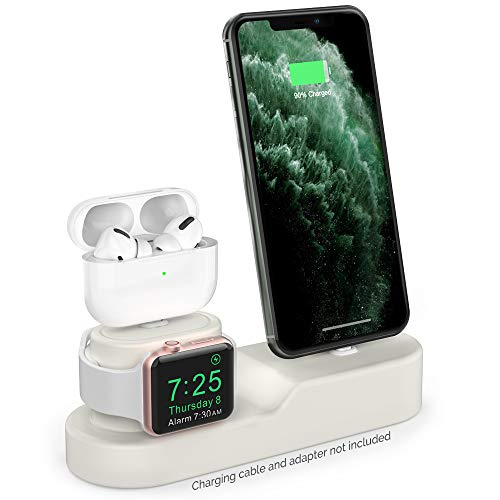 AhaStyle 3 in 1 Charging Stand Dock Silicone Compatible with Apple Watch, AirPods Pro/AirPods/AirPods 2 and All iPhone Models [Original Cables Required-NOT Included] (Beige)