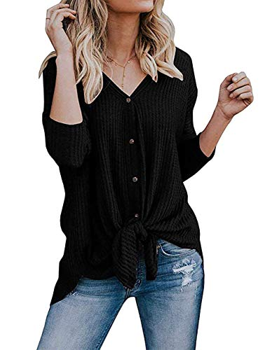 Miskely Women's Waffle Knit Tunic Tops Tie Knot Henley Tops Blouse Casual Loose Bat Wing Plain Shirts (Small, Black) by Miskely