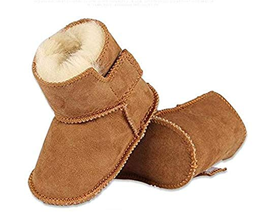 Bebila Genuine Sheepskin Baby Snow Boots Warm Winter First Walker Toddler Shoes for Boys and Girls (US 5/4.72