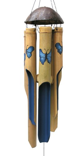 Cohasset Gifts Bamboo Wind Chimes | Medium 38 inch | Natural Beautiful Sound | Wood Outdoor Home Decor | #127 Blue Butterfly (Wind Make Bamboo Chimes)
