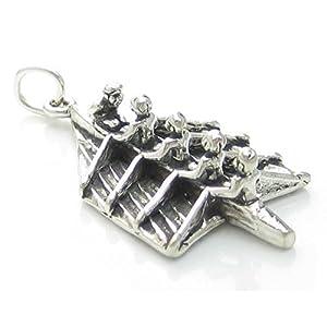 Rudern Team charm-Anhänger sterling-Silber 925, Rudergerät, Körperformer...