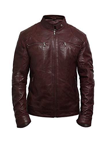 (Brandslock Mens Leather Biker Jacket Genuine Lambskin Burgundy)