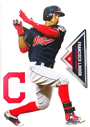 FATHEAD Francisco Lindor Mini Graphic + Cleveland Indians Logo Official MLB Vinyl Wall Graphics 7