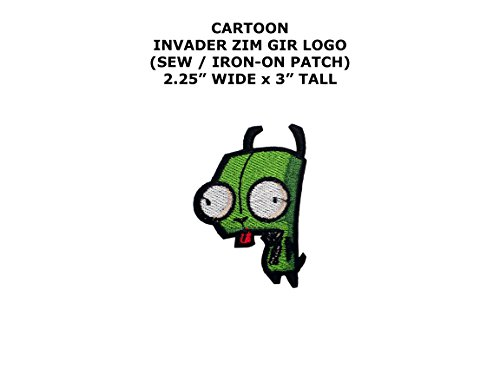 Invader Zim Cosplay Costumes (Invader Zim Gir Cartoon DIY Embroidered Sew or Iron-on Applique Patch Outlander Gear)