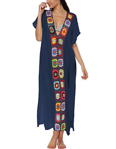 Womens Short Sleeve Embroidered Swim Cover Up Long Maxi Side Slit Turkish Kaftan Dress