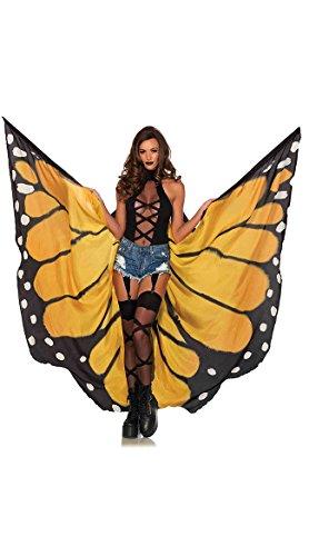 Leg Avenue Women's Festival Monarch Butterfly Cape, Orange/Black, One Size