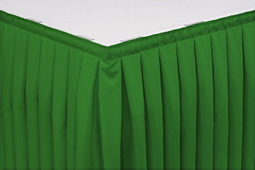 Polyester Box Pleat Table - Bright Settings 21 Foot Box Pleat Table Skirt w/3/4 Inch Velcro clips, Flame Retardant Basic Polyester, 29 Inch High, Kelly