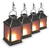 10'' Vintage Style Solar Powered Lantern Fame Effect(Metallic Coating Black,Plastic),Solar Garden Light with Vivid Fire Effect,Outdoor Solar Hanging Lantern,Decorative Lanterns ZKEE (Set of 4)