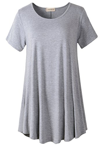 LARACE Women Short Sleeves Flare Tunic Tops for Leggings Flowy Shirt (L, Light Gray)