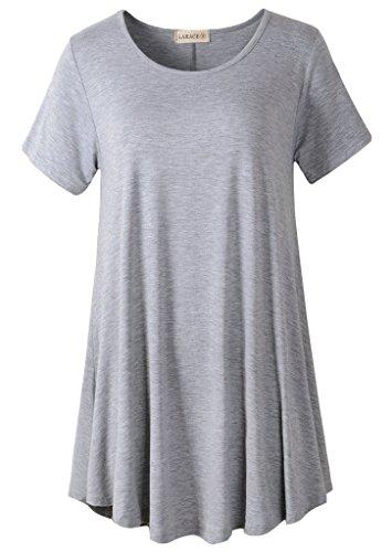 LARACE Women Short Sleeves Flare Tunic Tops for Leggings Flowy Shirt (3X, Light Gray)