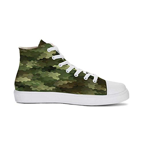 YOLIYANA Camo Durable High Top Canvas Shoes,Frosted Glass Effect Hexagonal Abstract Being Invisible Woodland Army for Men,US 12.5