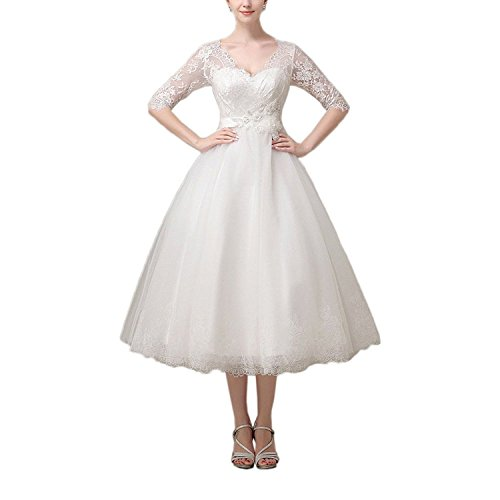 557ed817355 ABaowedding Lace V-Neck Half Sleeves Short Tea Length Wedding Dress Evening  Gown Size 16 Ivory