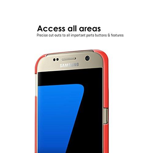 Orzly® - Exec-Armour HARD BACK CASE para SAMSUNG GALAXY S7 SmartPhone (2016 Modelo Teléfono Móvil) Funda de Posterior sólida en NEGRO ROJO ExecArmour para S7