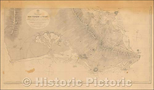 Historic Map | Southside of Oahu. Shorelines & Topography from a Hawaiian Government Survey in ; Hydrography from Surveys, 1880 | Vintage Wall Art 24in x 14in