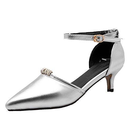 AIYOUMEI Damen Kleinem Absatz Spitz Zehen Kitten heel Pumps mit 5cm Absatz und Strass Bequem Schuhe Silber