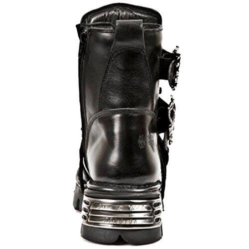 Neue Rock Short Black Stiefel mit silbernem Kreuz Detail und SchŠdel Flame Buckles mit Side Zip