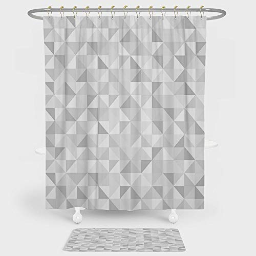 Grey Shower Curtain And Floor Mat Combination Set Faded Cubes Geometric Mosaic Squares and Triangles Color Movement Gradient Print Urban Art Decorative For decoration and daily use Gray White