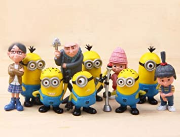 10 Piece Set Despicable Me Figures Toys Cake Toppers Minions Stuart