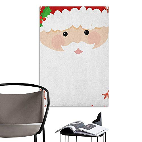 (Alexandear Wall Art Canvas Prints Kids Christmas Cartoon Face of Santa with Pink Cheeks White Beard and Mistletoe on His Hat Multicolor Fashion Stickers for Wall W16 x)
