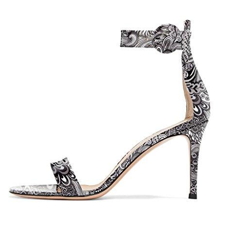 Sandali Con Cinturino Alla Caviglia Con Tacco Alto Da Donna Eldof | Tacchi A Punta Aperta Modello Pitone | Sandali Con Fibbia 8 Cm Fiore-grigio
