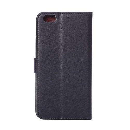 Lifetrut®[FM Schwarz] Apple iPhone 6 5.5 Zoll Schutzhülle Flip PU Ledertasche Ständer Schutzhülle Tasche Hülle Case Cover mit Kreditkartensteckplätze für Apple iPhone 6 5.5 Zoll