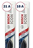 Bosch ICON Wiper Blades (Set of 2) Fits 2005-01 Kia Rio; 2008-03 Toyota Matrix; 2001-93 Subaru Impreza & More, Up to 40% Longer Life