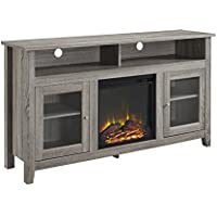 WE Furniture 58' Wood Highboy Fireplace Media TV Stand Console, Driftwood