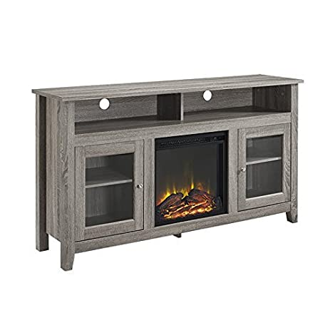 WE Furniture 58u0026quot; Wood Highboy Fireplace Media TV Stand Console,  Driftwood