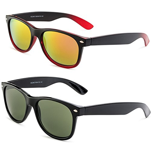 Shiny Black Frame/Green Lens - Matte Black and Red Gradient Frame/ Red Mirror - Ray Most Bans Popular Womens