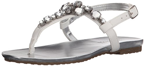 Jeweled Thongs (Kenneth Cole Reaction Daylo Thong Jeweled T-Strap Sandal (Little Kid/Big Kid), White, 5 M US Big)
