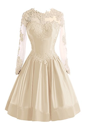 Bess Bridal Women's Sheer Lace Long Sleeve Short Prom Homecoming Dresses US8 Champagne (Champagne Lace Bridal Shop)